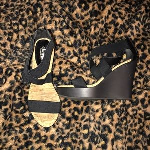 Shoes - Black strappy wedges